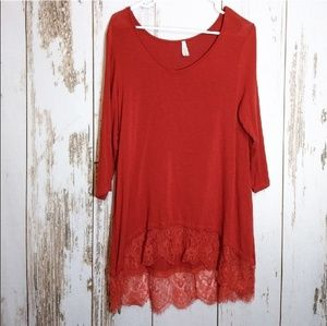 Vanity red lace bottom blouse